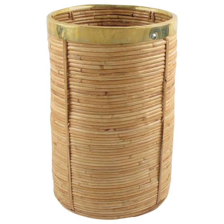 Italian 1970s Brass and Rattan Bamboo Planter or Umbrella Stand