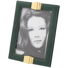French Modernist Hand-Stitched Green Leather and Brass Picture Photo Frame 1970s