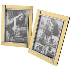 Modernist Pair of Picture Photo Frame Chrome and Brass by Noel B.C, Italy, 1970
