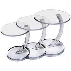 Midcentury Nesting Tables in Lucite, Exceptional Condition and Form