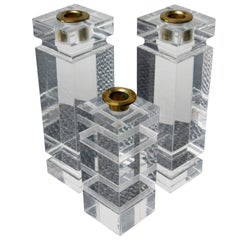 Set of Lucite & Brass Candle Holders in the style of Charles Hollis Jones
