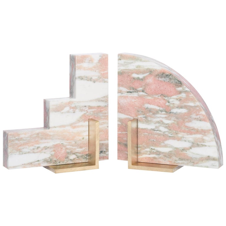 Odd Couple Bookends in Norwegian Rose Marble