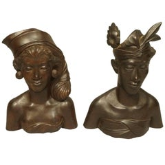 Pair of Carved Wooden Busts of Natives from Indonesia