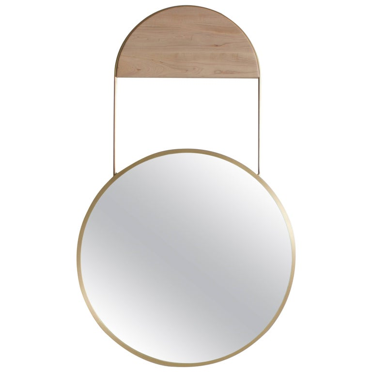 Penny Round Brass Wall Hanging Mirror
