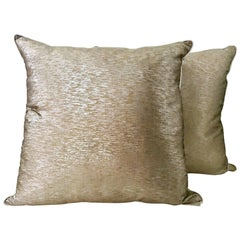 21st Century Pair Of Silk Metallic Two-Tone Gold & Silver Pillows