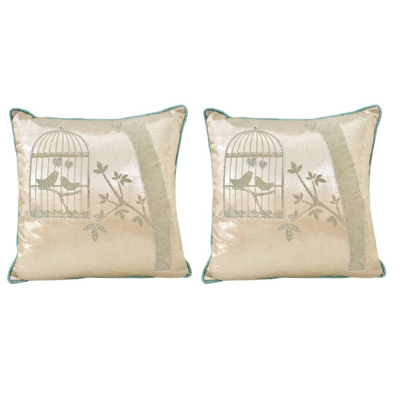 """Pair of Contemporary Silk and Down """"Bling"""" Bird Cage Pillows"""