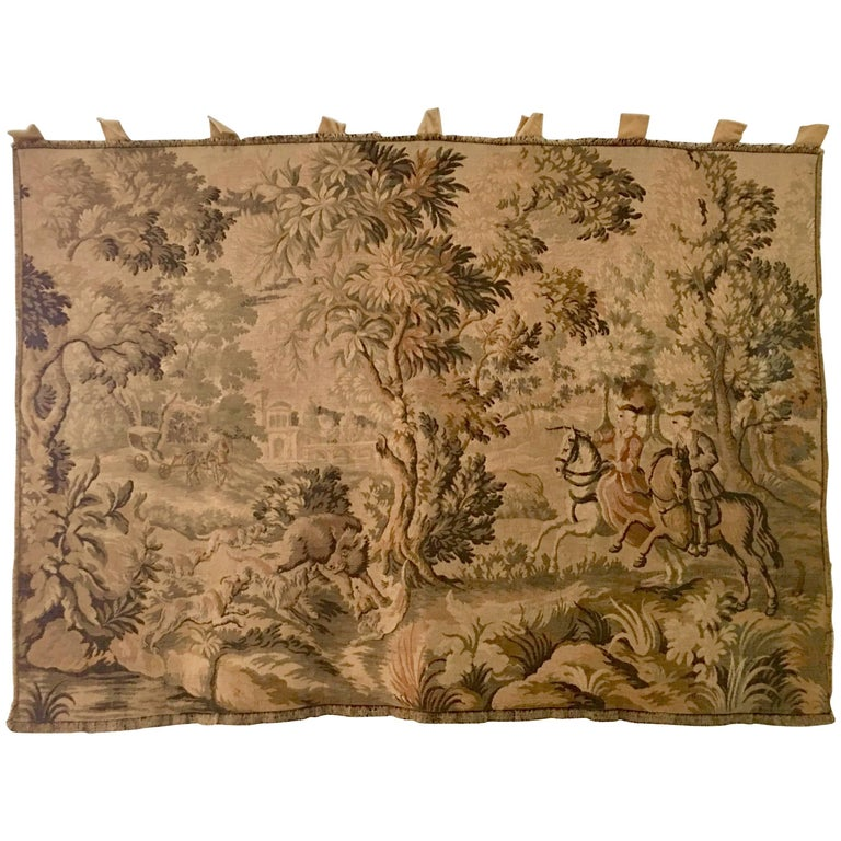 20th Century Fine French Tapestry Textile Panel-Signed