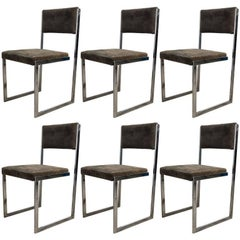 Set of Six Chrome Dining Chairs, Milo Baughman, 1970s