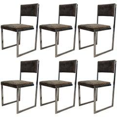 Set of Six Chrome Dining Chairs, Milo Baughman, 1970s