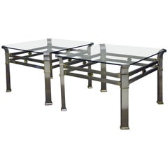 Pair of Brushed Steel and Brass Side Tables