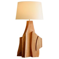 Large Wood Sculpture Table Lamp
