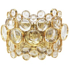 Large Golden Gilded Brass and Crystal Sconce by Palwa, Germany, 1960s