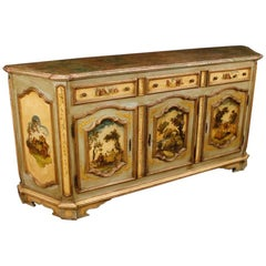 20th Century Venetian Lacquered and Painted Sideboard in Wood