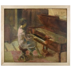 Art Deco Oil Painting Woman at the Piano Leo Bervoets, Belgium, 1920