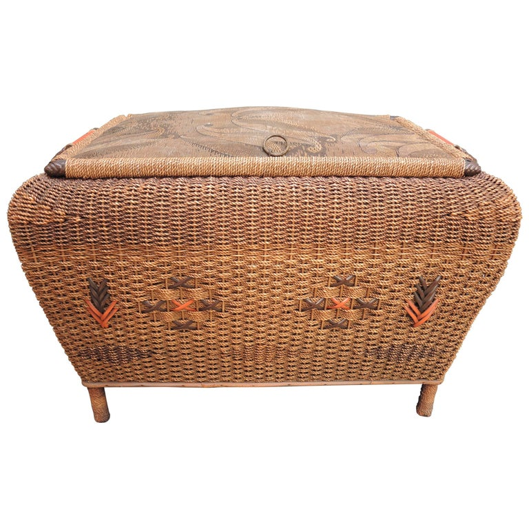 French Seagrass Woven Wicker Bench Circa 1940 For Sale At 1stdibs