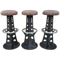 Set of Three Eiffel Tower Iron Bar Stools