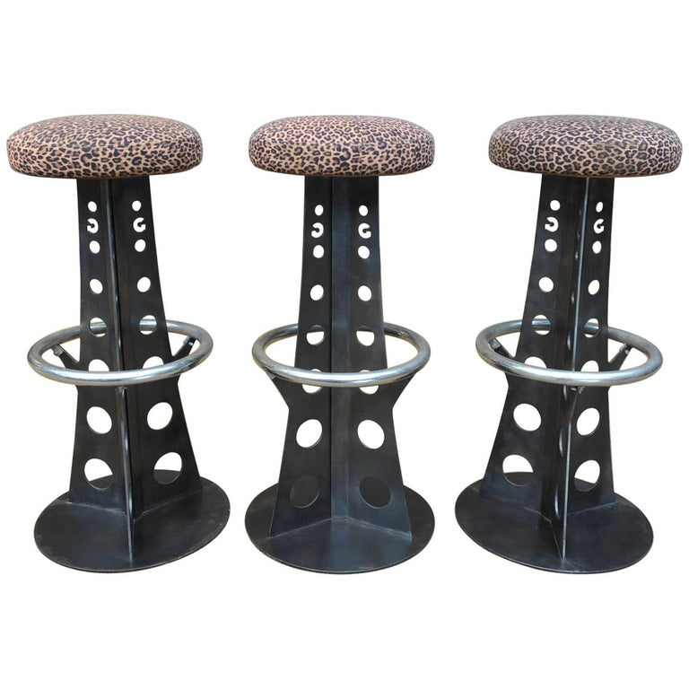 Set Of Three Eiffel Tower Iron Bar Stools At 1stdibs