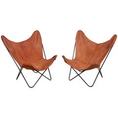 Rare Matched Pair of Ferrari Hardoy Butterfly Chairs for Knoll