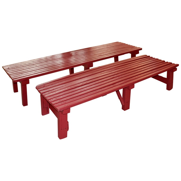 Two Benches in Painted Wood