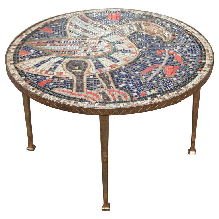 Mosaic Art Deco Table Bird, Italy, 1930s For Sale
