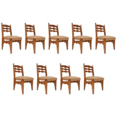 Guillerme & Chambron Set of Nine Solid Oak Dining Chairs