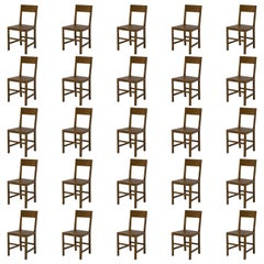 Large Set of Solid Oak Belgian Court Chairs