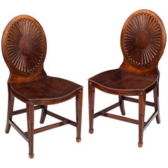 English 18th Century George III Period Pair of Neoclassical Hall Chairs