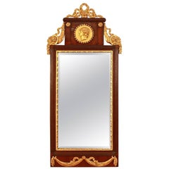 Empire Veneered and Giltwood Pier Mirror, North Germany (Altona) or Denmark