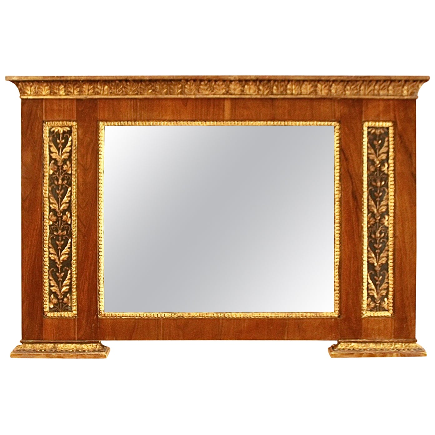 Early 19th Century North Italy Neoclassical Walnut Giltwood Overmantel Mirror