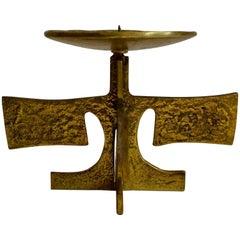Brass Candle Holder, European Mid-20th Century