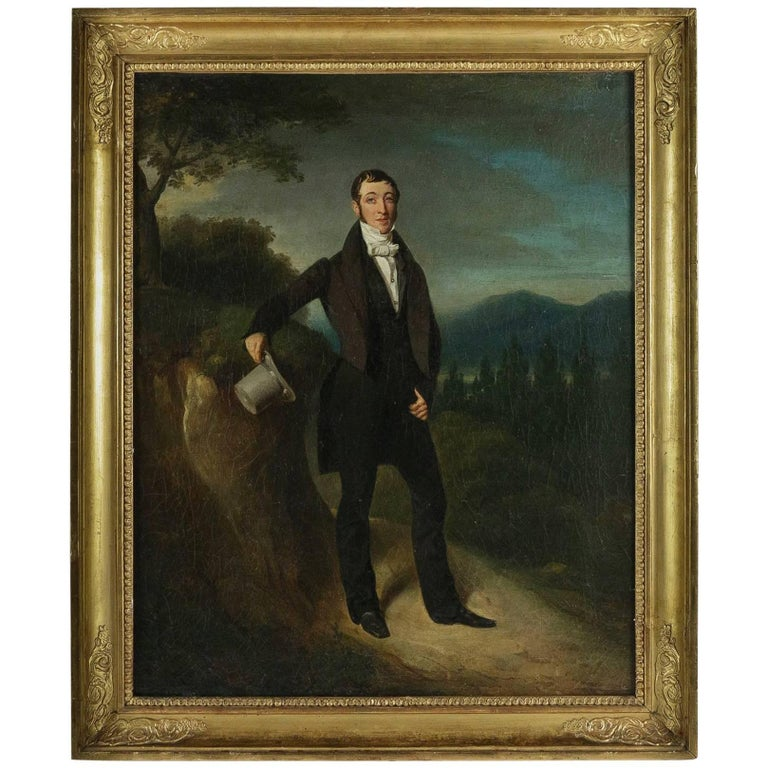Pierre Duval Le Camus Oil on Canvas Portrait of an Elegant Man with a Hat