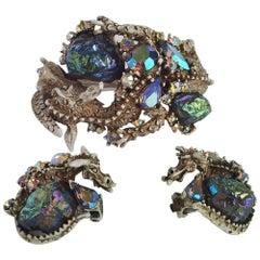 HAR Vintage Dragon Bracelet & Earrings, 1959, American