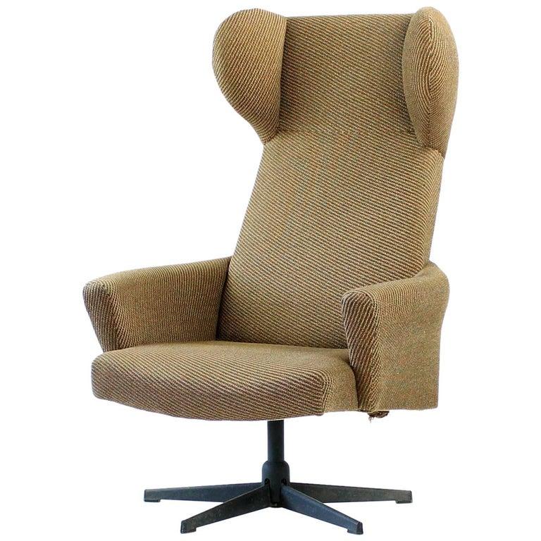 1970s Swivel Wing Chair in Original Brown Fabric, Czechoslovakia