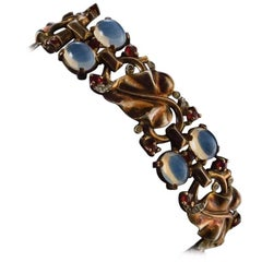 Trifari Vintage Bracelet Moonstones on Vermeil Gold Gilt Sterling Silver, Alfred