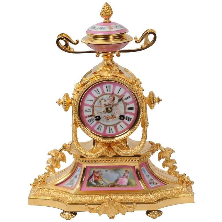 Japy Freres Ormolu and Sevres Porcelain Boudoir Clock