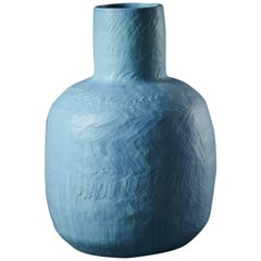 Large Handmade Blue Ceramic Stoneware Vase by Daniel Reynolds the New Craftsmen