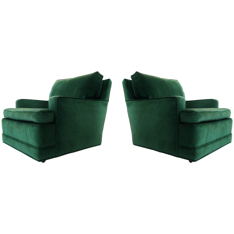 """Pair of Billy Haines Style """"Seniah"""" Chairs in Green Upholstery"""