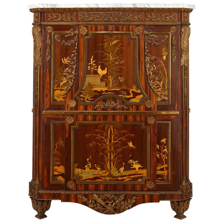 antique french gilt bronze mounted marquetry secr taire en armoire for sale at 1stdibs. Black Bedroom Furniture Sets. Home Design Ideas