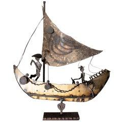 1960s Decorative Iron Metal Boat