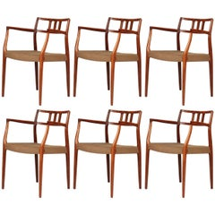Rare Set of Six Niels Moller Rosewood No.64/79 Model Dinning Chairs