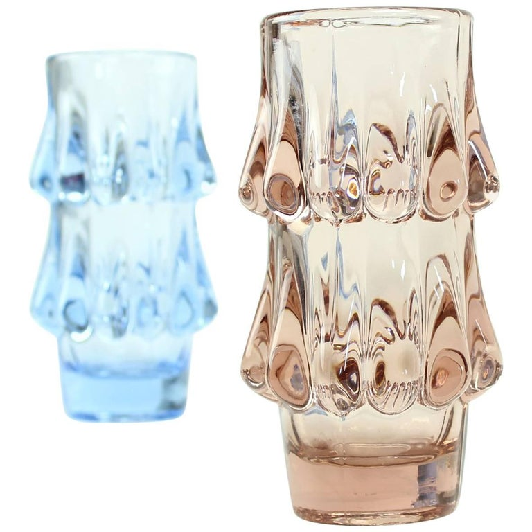 Pink and Blue Art Glass Vases by Jiri Brabec for Sklo Union Rosice, 1978