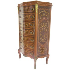 French Louis XV Style Semainier Dresser with Marquetry Inlay