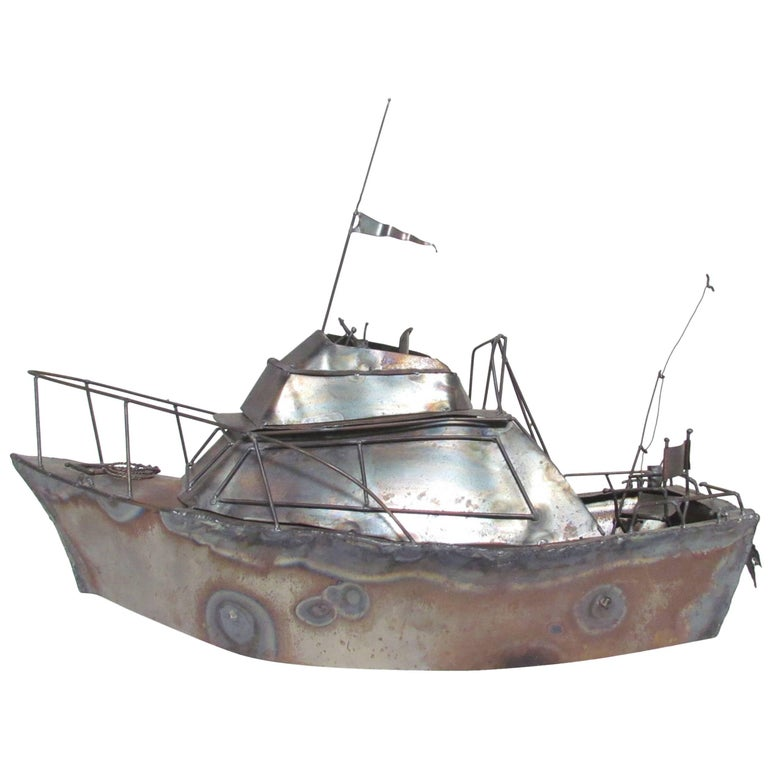 "Metal Work Sculpture of Cabin Cruiser Boat ""Nansea"" Dated 1979"