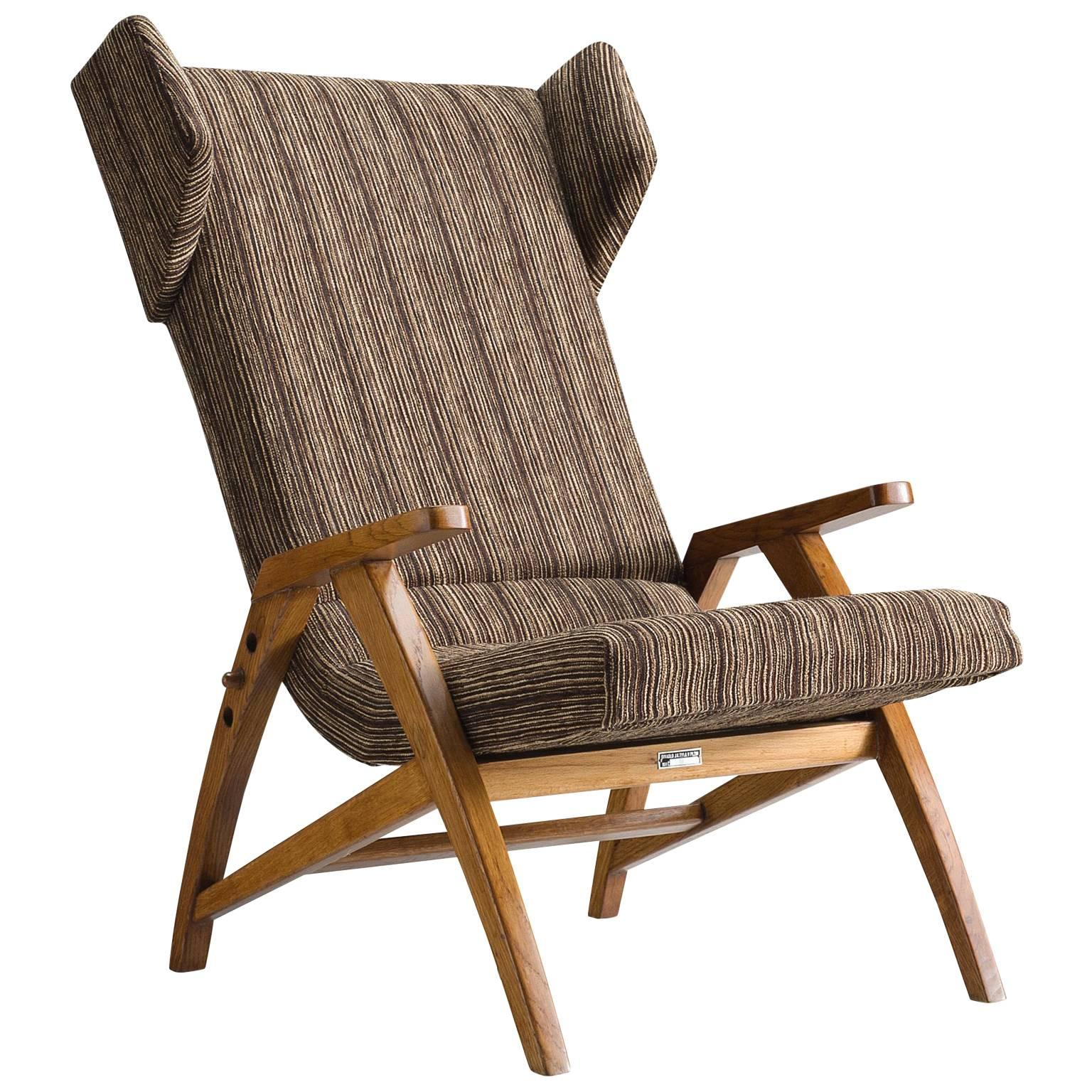 Reclining Wingback Chair in Solid Oak, 1940s