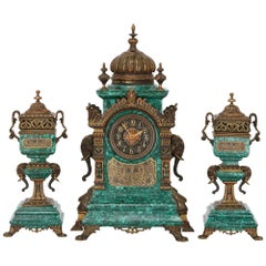 Gilt Bronze and Malachite Three-Piece Clock Set in the Moorish Revival Style