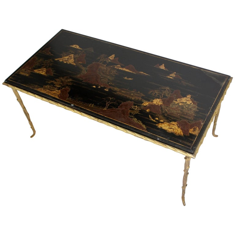 Black Lacquered Chinoiserie Coffee Table by Maison Baguès