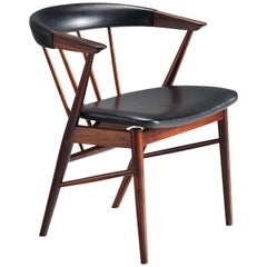 Helge Sibast Roundback Chair in Rosewood and Leather