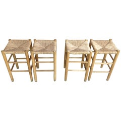 Four Woven Rush Stools French Design 1950 Boheme Chic Style