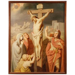 19th Century French Religious Painting Crucifixion