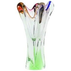 Art Glass Vase in Multicolor by Josef Hospodka for Glass Factory Chribska